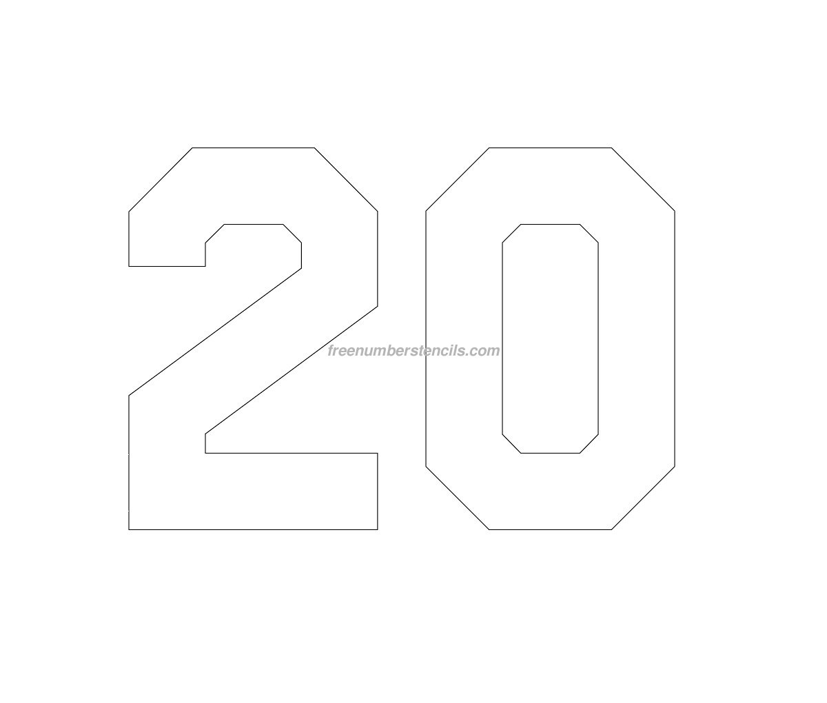 Free Hockey 20 Number Stencil