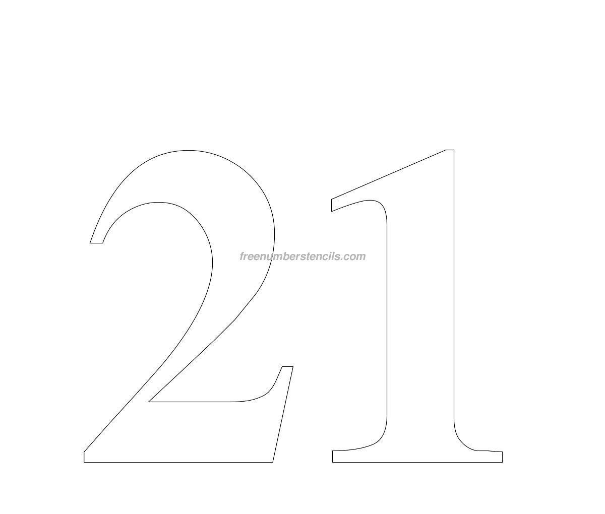 free numbers templates - free huge 21 number stencil