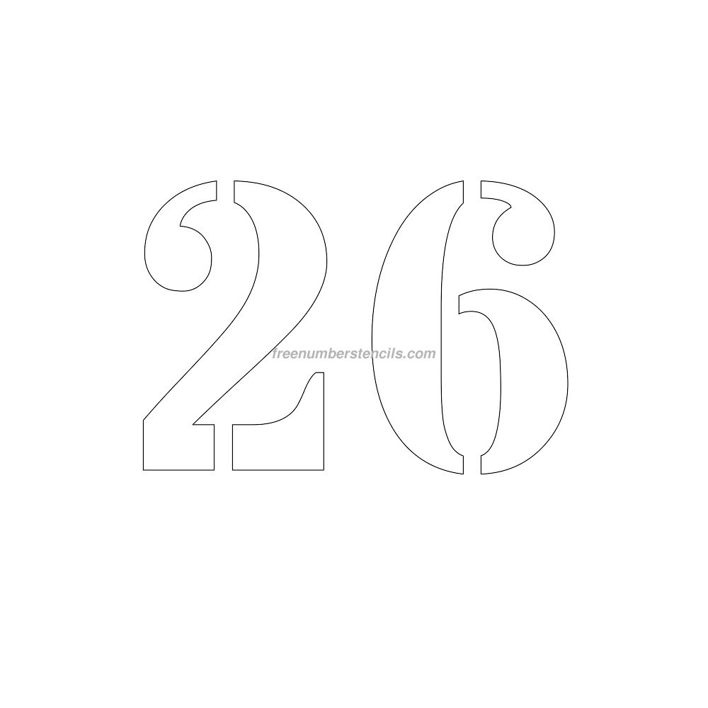 Print 8 Inch 26 Number Stencil Template