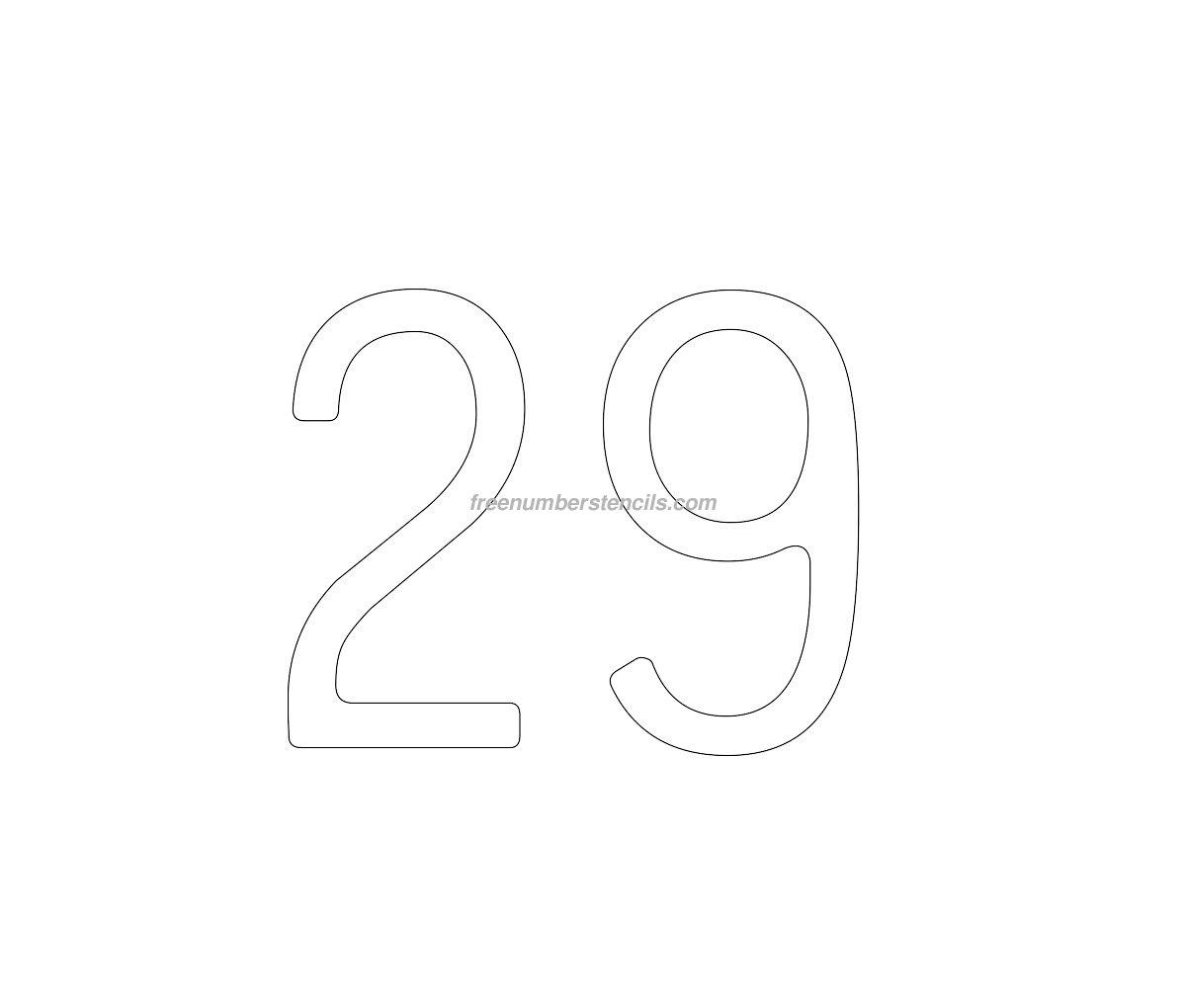 Cake Pattern Stencils : Cake Free 29 Number Stencil - Freenumberstencils.com