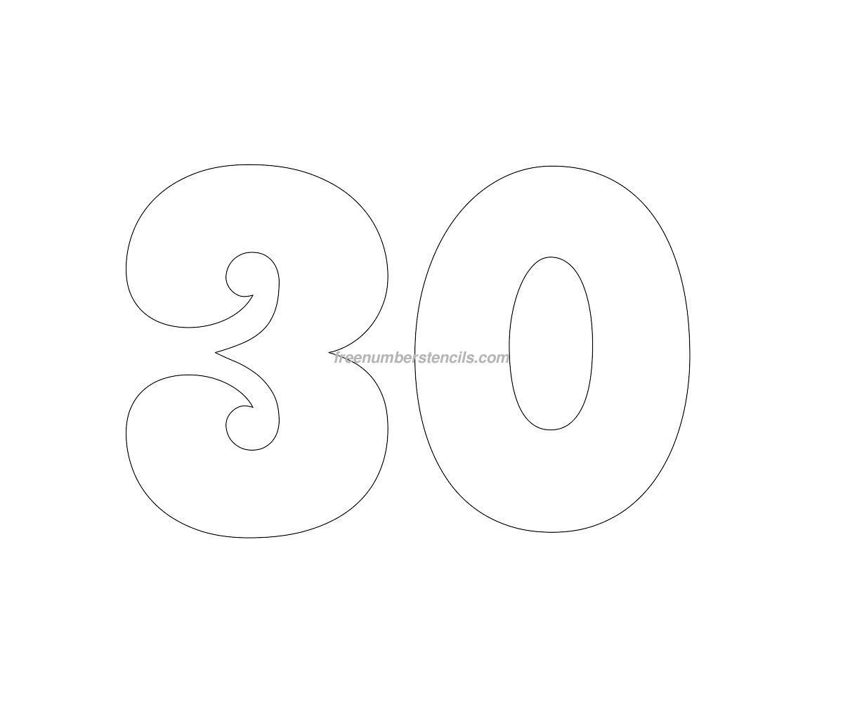 free groovy 30 number stencil