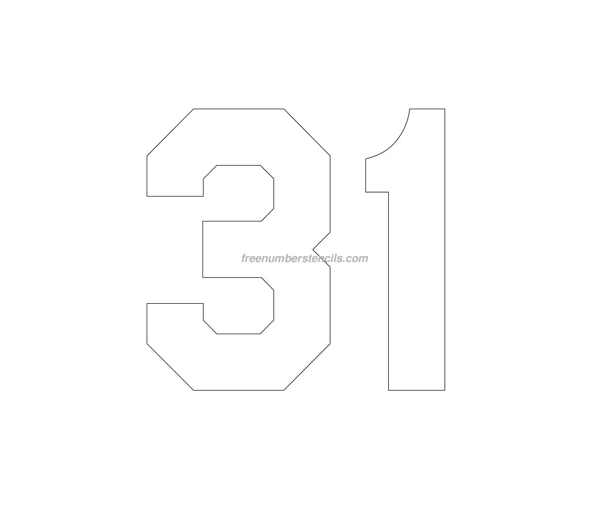 football cutout template - free hockey 31 number stencil