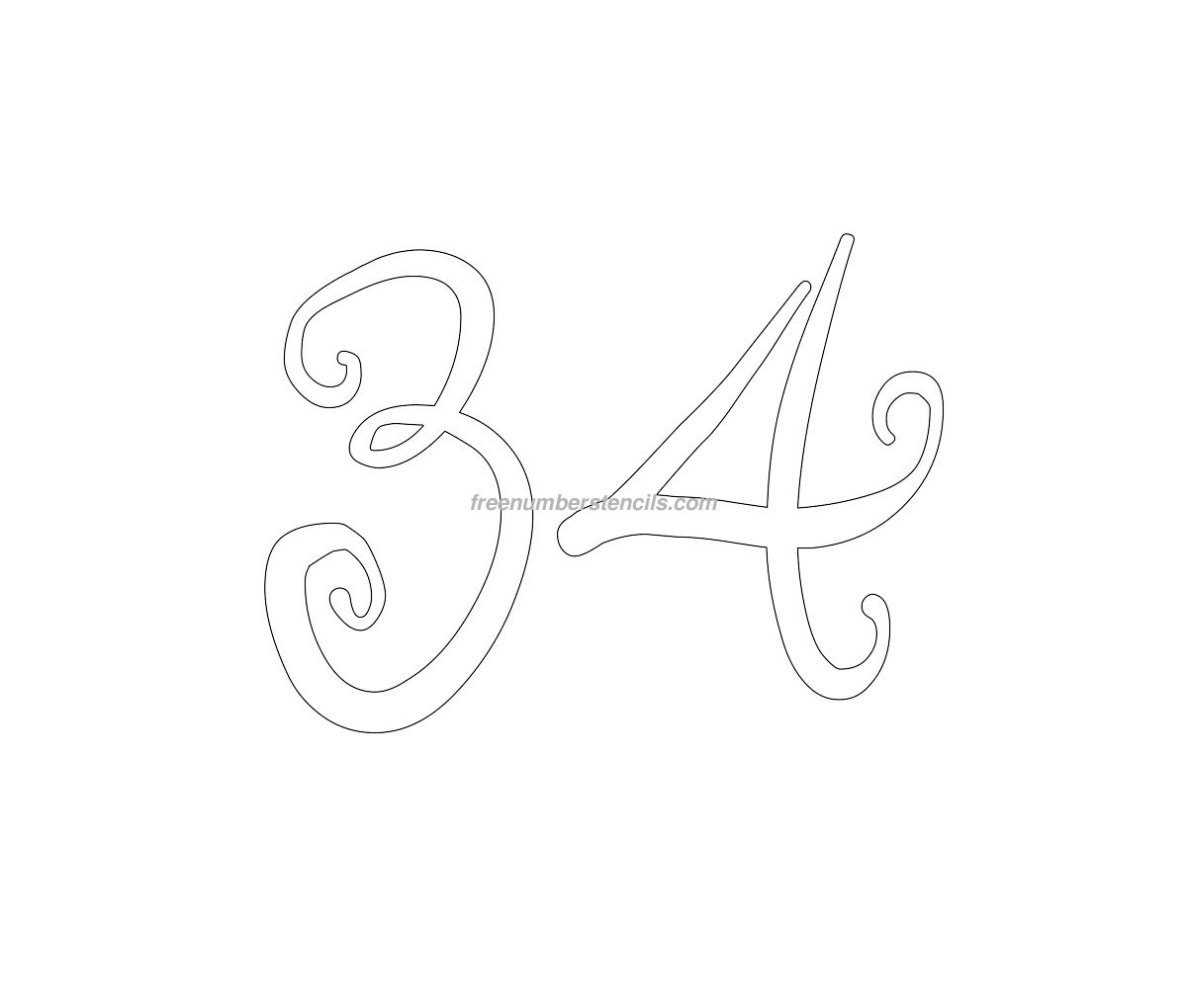 Printable Number 1 Stencil Free curly 34 number stencil