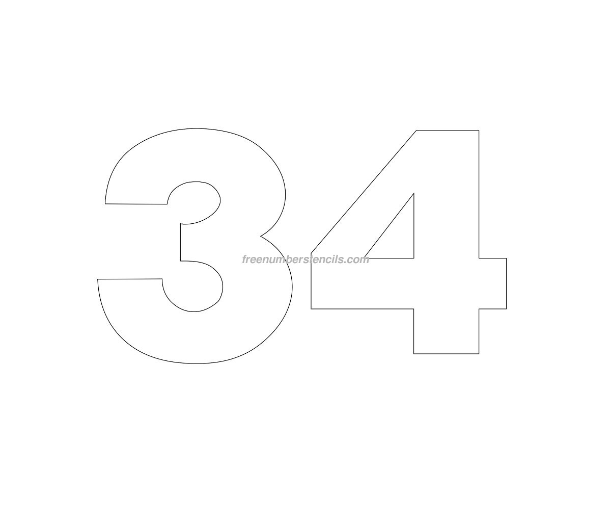 Free Helvetica 34 Number Stencil Freenumberstencils Com