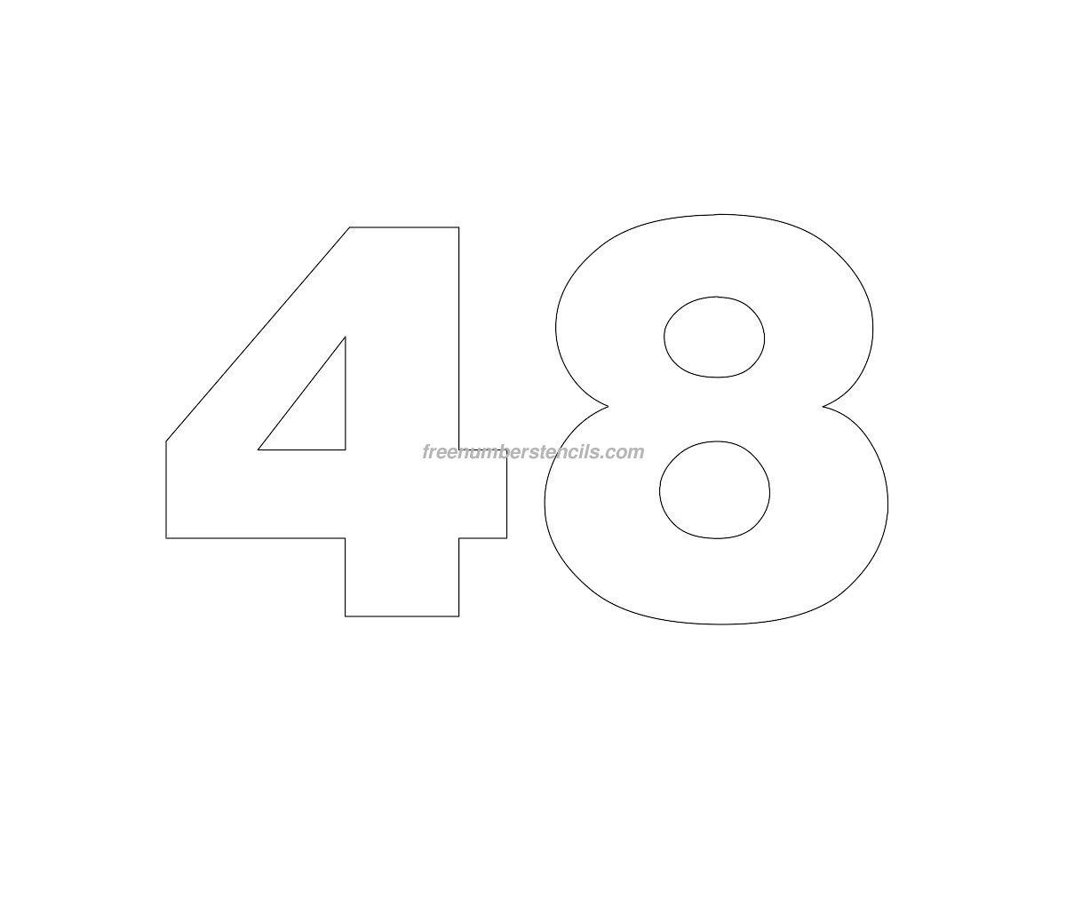Free helvetica 48 number stencil freenumberstencilscom for Helvetica letter stencils