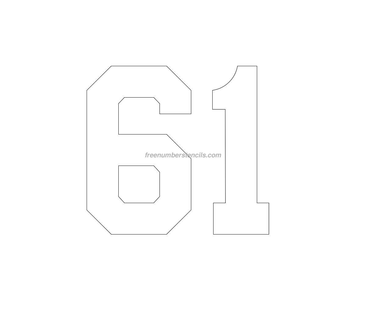free football 61 number stencil