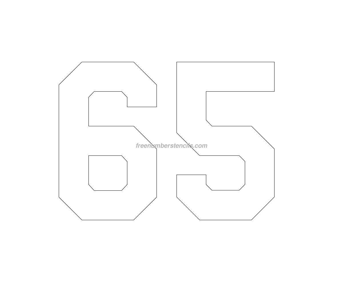 Free Football 65 Number Stencil - Freenumberstencils.com