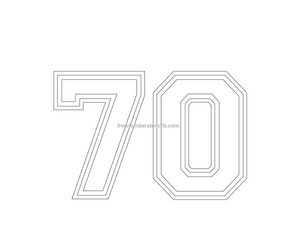 Free Varsity 70 Number Stencil Freenumberstencils Com