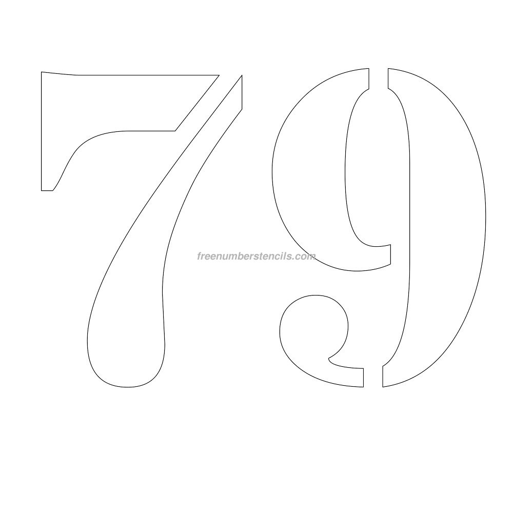Template the 12 inch 79 number stencil design to print and cut out