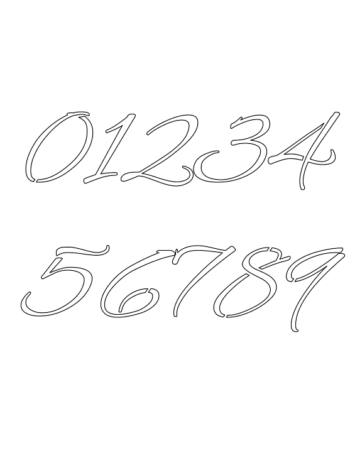 1 Inch Running Cursive Cursive Style Number Stencils 0 to 9 1 Inch Running Cursive Cursive Style Number Stencils 0 to 9 Number Stencil Sample