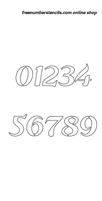 1 Inch Flowing Cursive Elegant Number Stencils 0 to 9 1 Inch Flowing Cursive Elegant Number Stencils 0 to 9 Number Stencil Sample