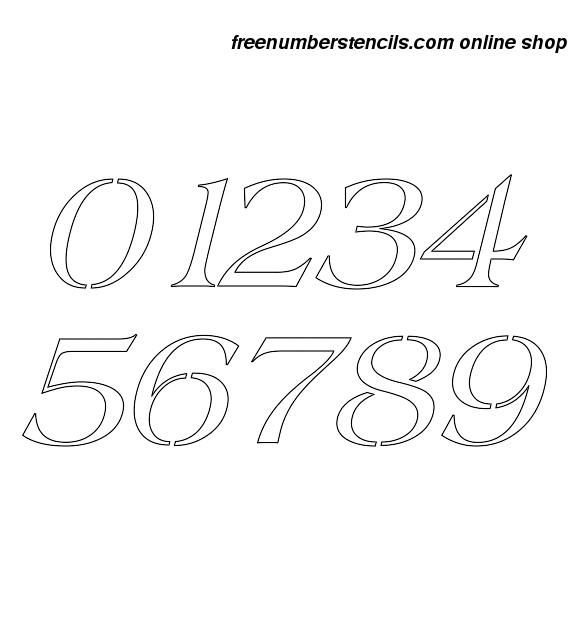8 Inch 60's Americana Italic Italic Number Stencils 0 to 9 8 Inch 60's Americana Italic Italic Number Stencils 0 to 9 Number Stencil Sample