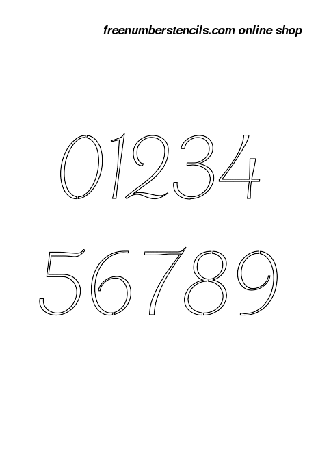 8 Inch Chic Italic Italic Number Stencils 0 To 9