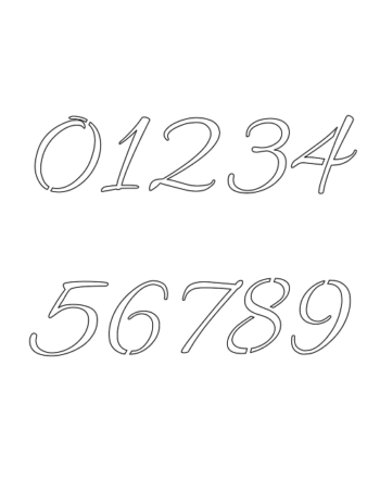 9 Inch Connected Cursive Cursive Style Number Stencils 0 to 9 9 Inch Connected Cursive Cursive Style Number Stencils 0 to 9 Number Stencil Sample