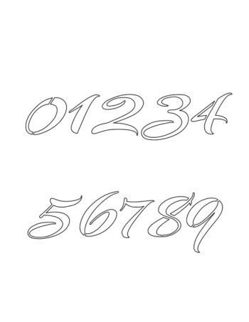 9 Inch Brushed Cursive Cursive Style Number Stencils 0 to 9 9 Inch Brushed Cursive Cursive Style Number Stencils 0 to 9 Number Stencil Sample
