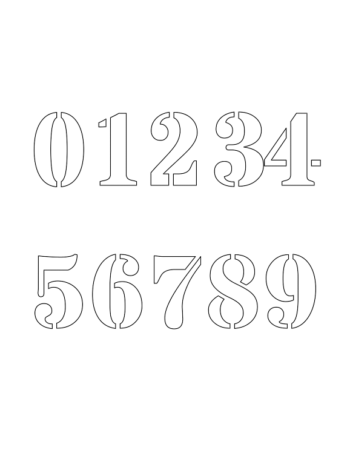 1 Inch Bold Serif Bold Number Stencils 0 to 9 1 Inch Bold Serif Bold Number Stencils 0 to 9 Number Stencil Sample