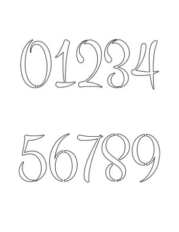 2 Inch 60's Brush Hand Elegant Number Stencils 0 to 9 2 Inch 60's Brush Hand Elegant Number Stencils 0 to 9 Number Stencil Sample