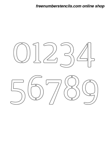 ½ Half Inch Narrow Serif Elegant Number Stencils 0 to 9 ½ Half Inch Narrow Serif Elegant Number Stencils 0 to 9 Number Stencil Sample