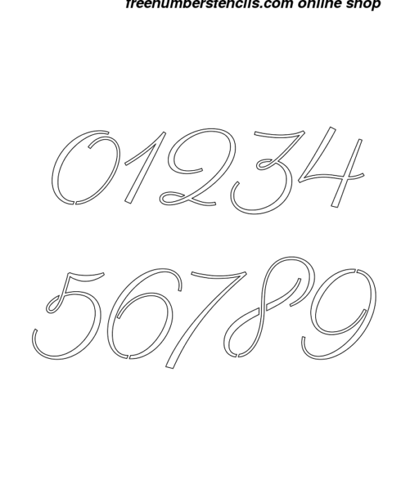 ½ Half Inch 60's Calligraphy Calligraphy Style Number Stencils 0 to 9 ½ Half Inch 60's Calligraphy Calligraphy Style Number Stencils 0 to 9 Number Stencil Sample