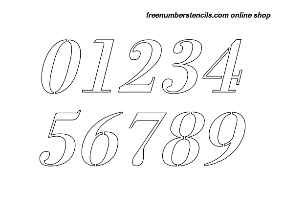 2 Inch 1700's Exquisite Italic Italic Number Stencils 0 to 9 2 Inch 1700's Exquisite Italic Italic Number Stencils 0 to 9 Number Stencil Sample