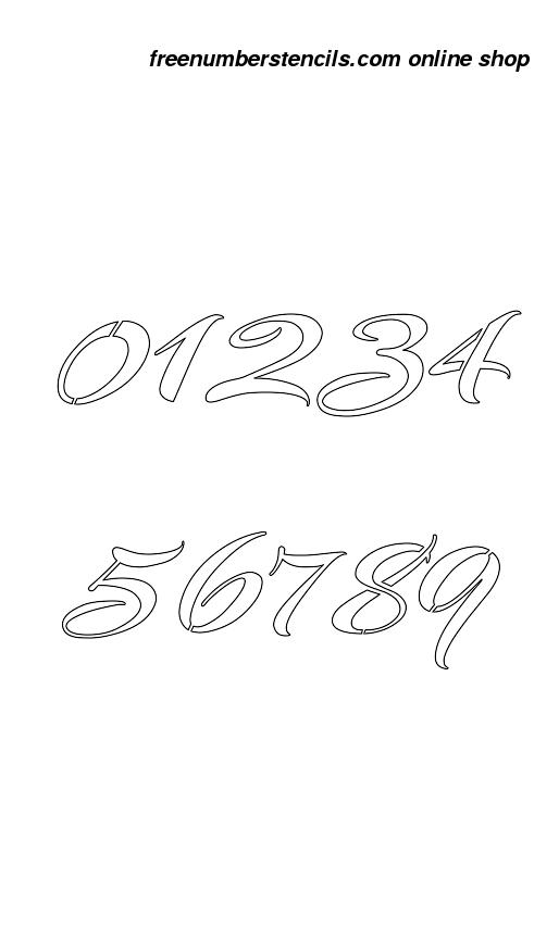 189 Half Inch Brushed Cursive Cursive Style Number Stencils