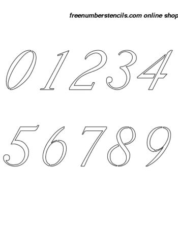 1½ Half Inch 18th Century Italic Italic Number Stencils 0 to 9 1½ Half Inch 18th Century Italic Italic Number Stencils 0 to 9 Number Stencil Sample