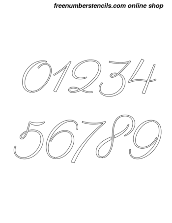 1½ Half Inch 60's Calligraphy Calligraphy Style Number Stencils 0 to 9 1½ Half Inch 60's Calligraphy Calligraphy Style Number Stencils 0 to 9 Number Stencil Sample