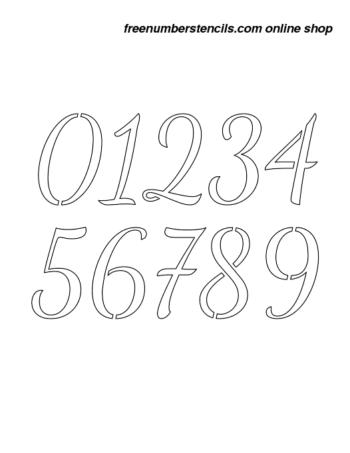 1½ Half Inch 50's Cursive Script Cursive Style Number Stencils 0 to 9 1½ Half Inch 50's Cursive Script Cursive Style Number Stencils 0 to 9 Number Stencil Sample