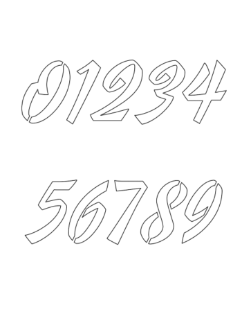 1½ Half Inch 40's Brushed Cursive Cursive Style Number Stencils 0 to 9 1½ Half Inch 40's Brushed Cursive Cursive Style Number Stencils 0 to 9 Number Stencil Sample