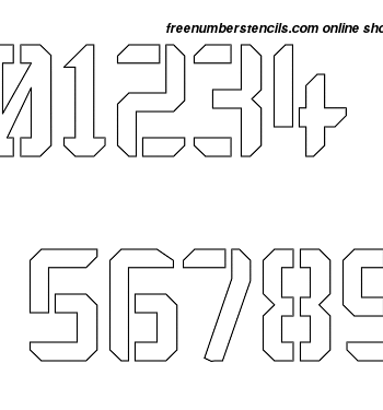 1½ Half Inch Techy Contemporary Modern Number Stencils 0 to 9 1½ Half Inch Techy Contemporary Modern Number Stencils 0 to 9 Number Stencil Sample