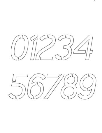 1½ Half Inch Smooth Contemporary Italic Modern Number Stencils 0 to 9 1½ Half Inch Smooth Contemporary Italic Modern Number Stencils 0 to 9 Number Stencil Sample