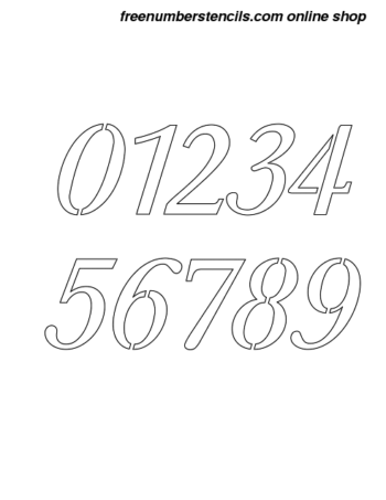 2½ Half Inch Stylish Italic Italic Number Stencils 0 to 9 2½ Half Inch Stylish Italic Italic Number Stencils 0 to 9 Number Stencil Sample