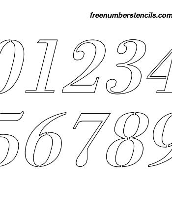 2½ Half Inch 1700's Exquisite Italic Italic Number Stencils 0 to 9 2½ Half Inch 1700's Exquisite Italic Italic Number Stencils 0 to 9 Number Stencil Sample