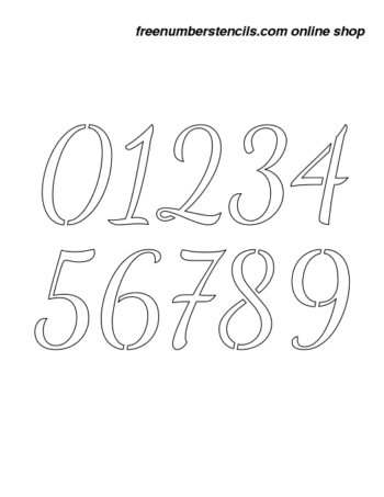 2½ Half Inch 50's Cursive Script Cursive Style Number Stencils 0 to 9 2½ Half Inch 50's Cursive Script Cursive Style Number Stencils 0 to 9 Number Stencil Sample