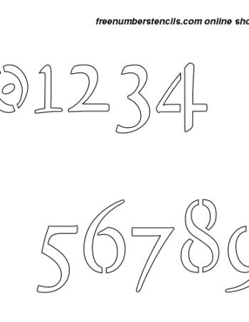 2½ Half Inch 16th Century Cursive Cursive Style Number Stencils 0 to 9 2½ Half Inch 16th Century Cursive Cursive Style Number Stencils 0 to 9 Number Stencil Sample