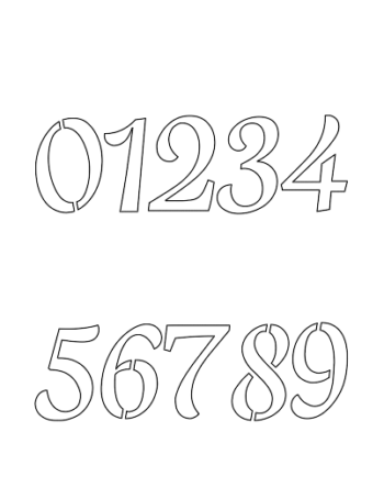 2½ Half Inch Humanist Type Cursive Style Number Stencils 0 to 9 2½ Half Inch Humanist Type Cursive Style Number Stencils 0 to 9 Number Stencil Sample