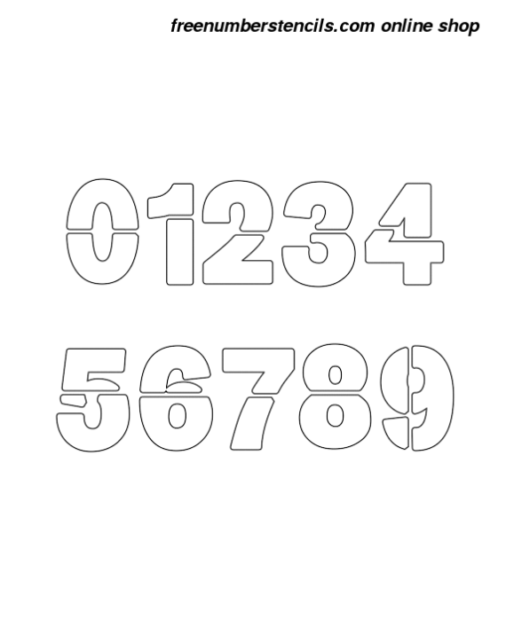 2½ Half Inch Heavy & Bold Bold Number Stencils 0 to 9 2½ Half Inch Heavy & Bold Bold Number Stencils 0 to 9 Number Stencil Sample