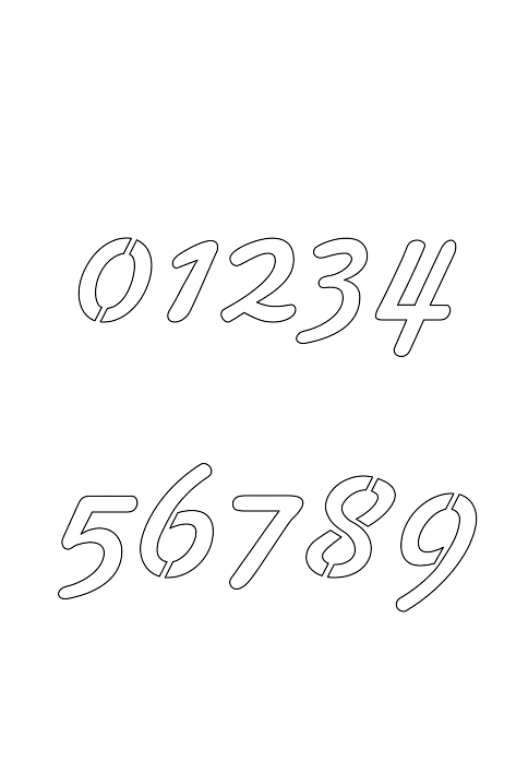 2 Inch 50's Cursive Cursive Style Number Stencils 0 to 9 2 Inch 50's Cursive Cursive Style Number Stencils 0 to 9 Number Stencil Sample