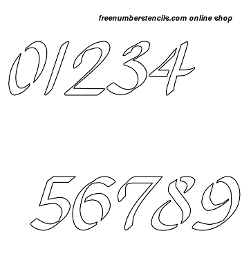2 Inch Pleasing Grace Cursive Style Number Stencils 0 to 9 2 Inch Pleasing Grace Cursive Style Number Stencils 0 to 9 Number Stencil Sample
