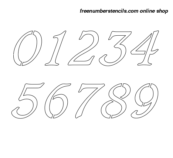 1 Inch Italic & Bold Italic Number Stencils 0 to 9 1 Inch Italic & Bold Italic Number Stencils 0 to 9 Number Stencil Sample