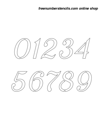 3 Inch Sans-Serif Grand Cursive Style Number Stencils 0 to 9 3 Inch Sans-Serif Grand Cursive Style Number Stencils 0 to 9 Number Stencil Sample