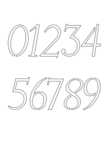 1 Inch Penhand Italic Italic Number Stencils 0 to 9 1 Inch Penhand Italic Italic Number Stencils 0 to 9 Number Stencil Sample
