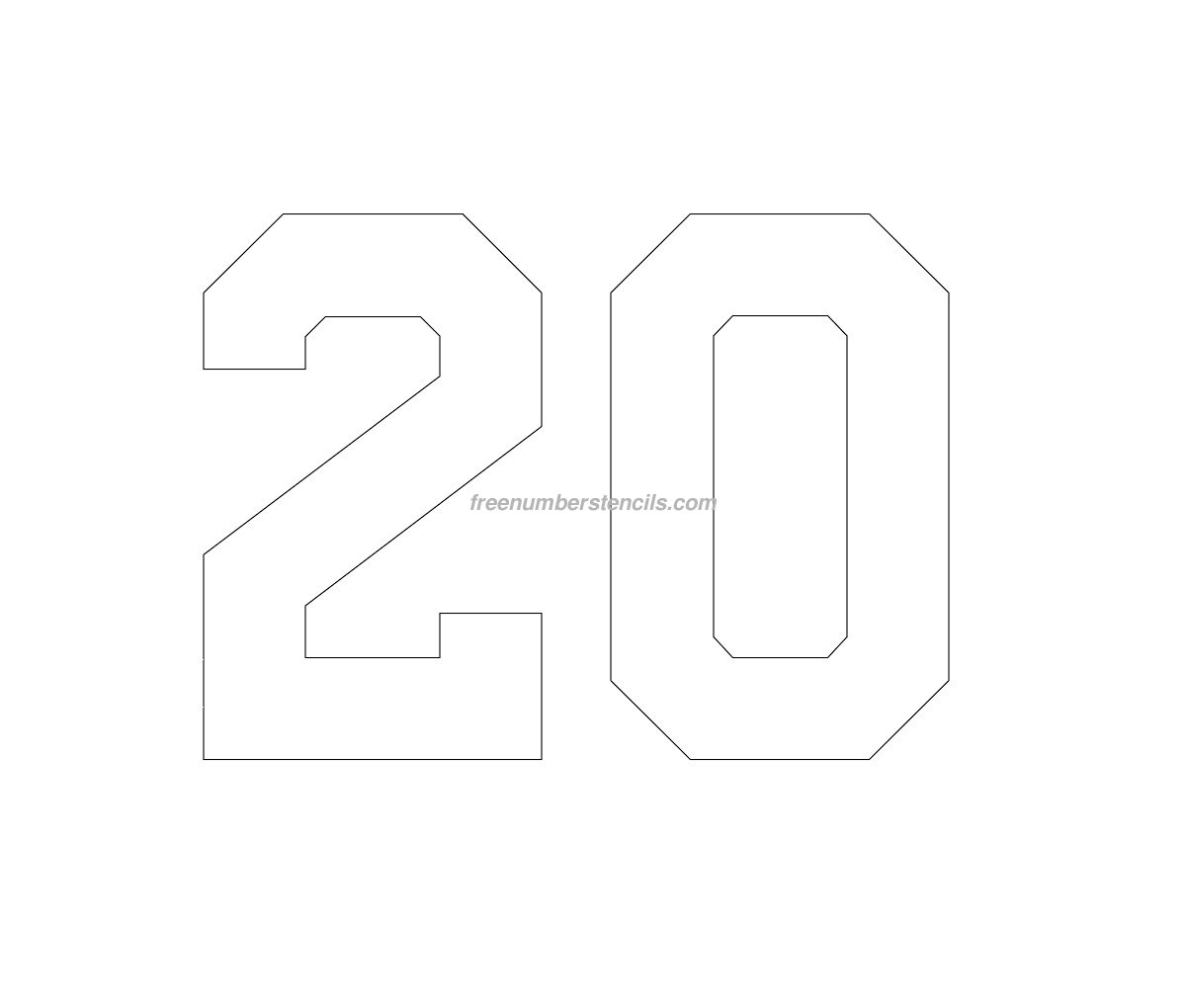 football cutout template - free football 20 number stencil