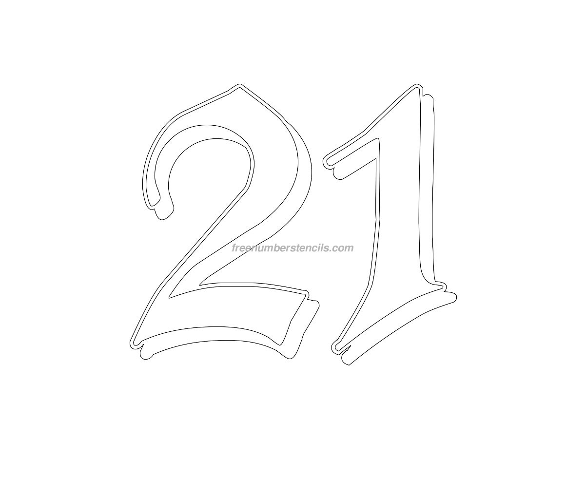Free Gothic 21 Number Stencil