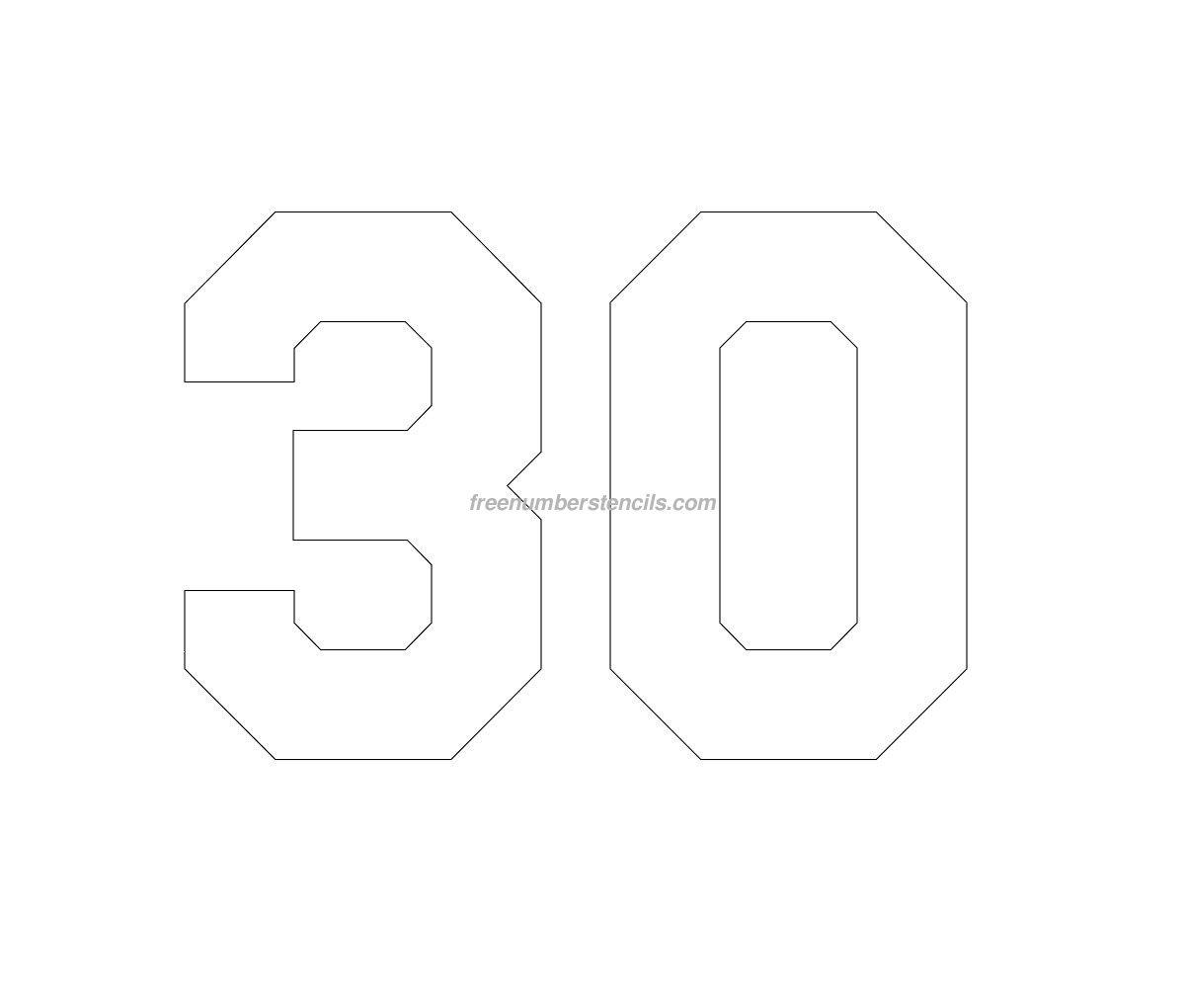 Free Jersey Printable 30 Number Stencil