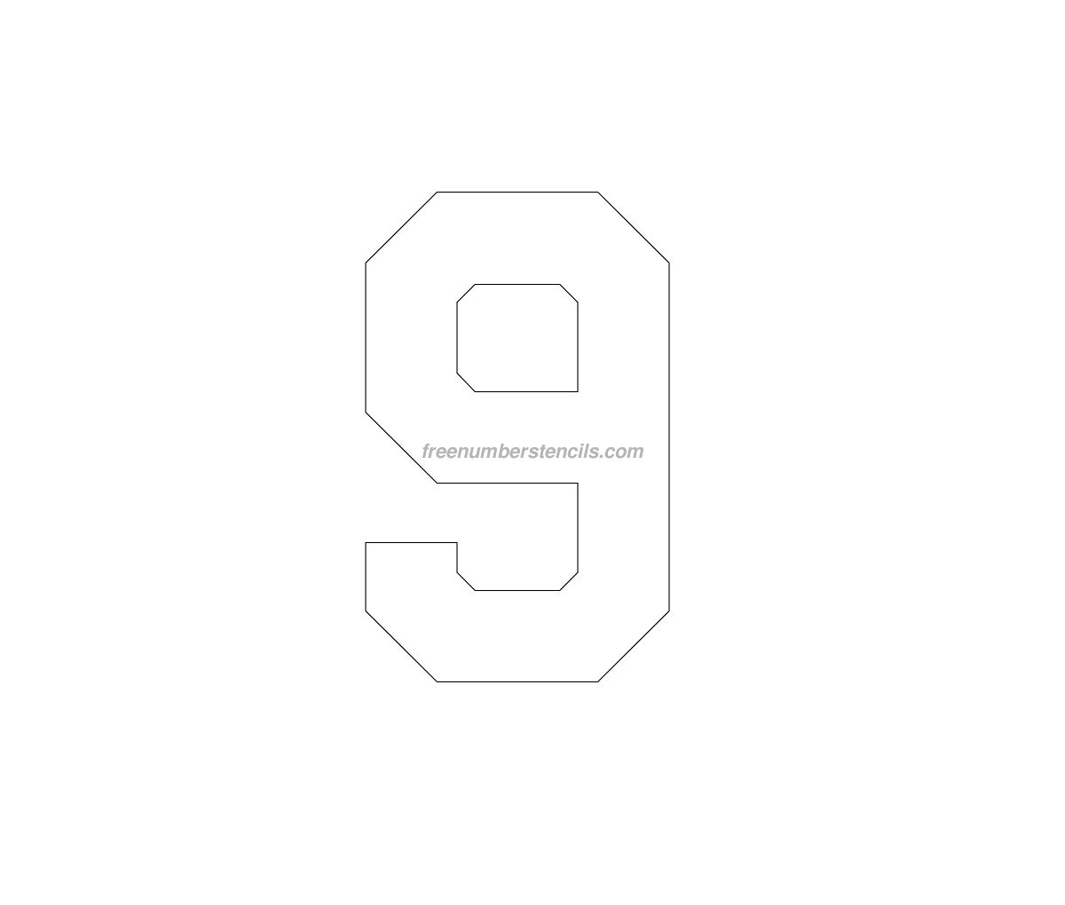 Free football 9 number stencil for Football cutout template