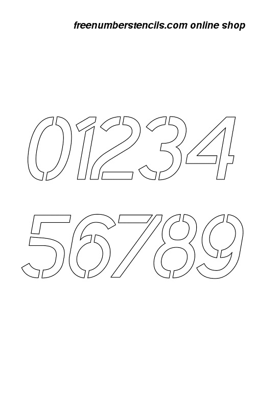 photo regarding Free Printable 4 Inch Number Stencils known as 4 Inch Delicate Modern-day Italic Impressive Selection Stencils 0 towards 9