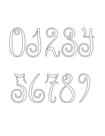 7 Inch Exquisite Ornamental Cursive Style Number Stencils 0 to 97 Inch Exquisite Ornamental Cursive Style Number Stencils 0 to 9Number Stencil Sample
