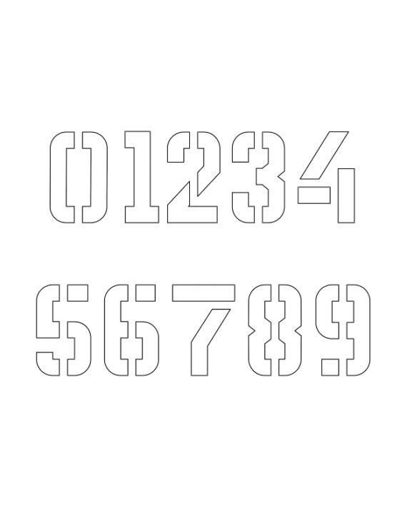 1 Inch Geo Futuristic Futuristic Number Stencils 0 to 9 ...