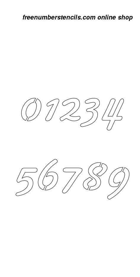 2 Inch 50 S Cursive Cursive Style Number Stencils 0 To 9